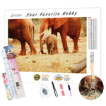 Load image into Gallery viewer, Baby Elephant with Mom DIY Diamond Painting Kit
