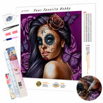 Load image into Gallery viewer, Beautiful Woman with make-up Skull DIY Diamond Painting Kit