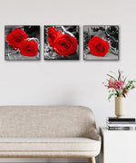 Load image into Gallery viewer, Black White Red Roses and Pearls 3pcs/set DIY Diamond Painting Kit