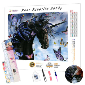 Black unicorn and Butterflies DIY Diamond Painting Kit
