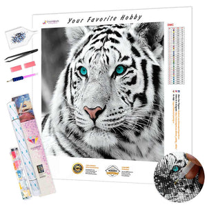 Blue Eyes White Tiger DIY Diamond Painting Kit