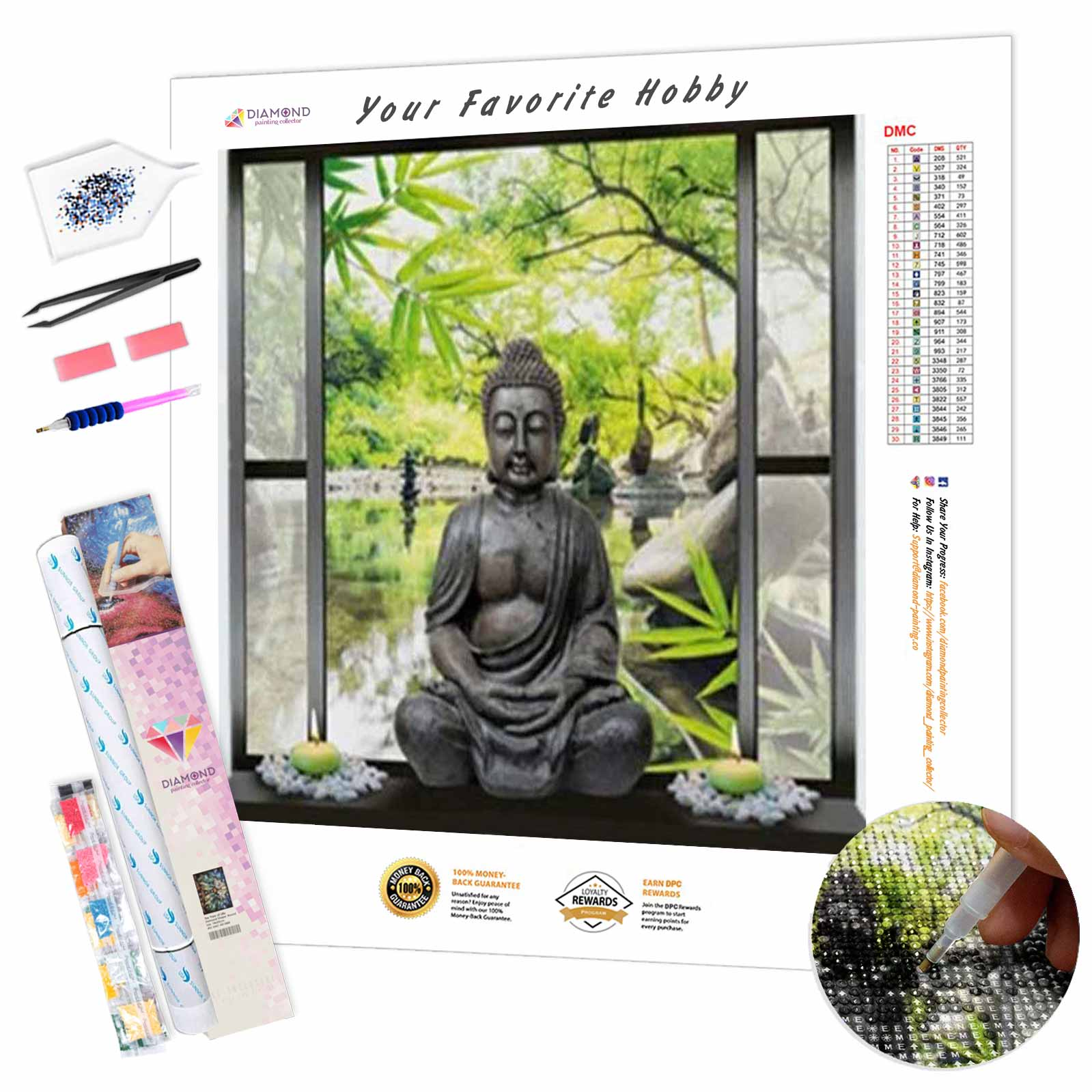 Buddha on the window DIY Diamond Painting Kit