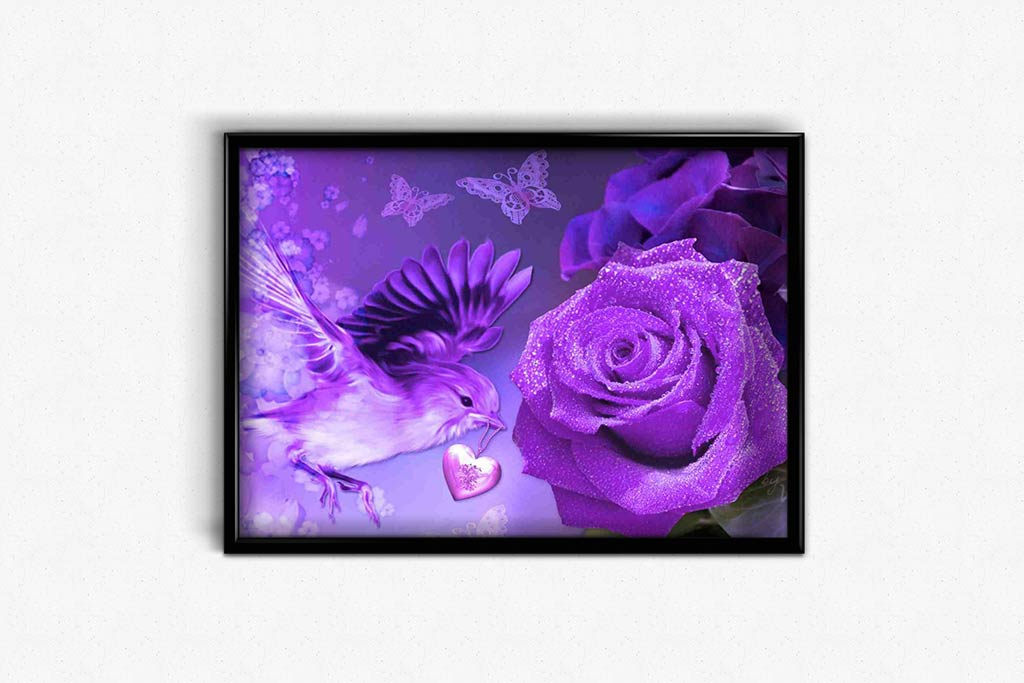 Butterflies and a Bird With a Heart DIY Diamond Painting Kit