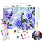 Load image into Gallery viewer, Butterflies on Blue Flowers DIY Diamond Painting Kit