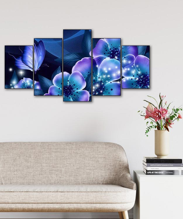 Butterfly on Fairy Flowers 5pcs/set DIY Diamond Painting Kit