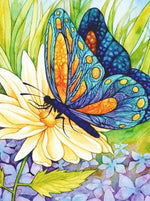 Load image into Gallery viewer, Butterfly on a Yellow Flower DIY Diamond Painting Kit