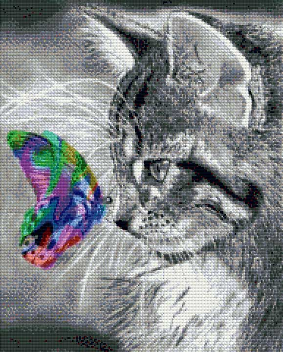 Cats and Colorful Butterfly DIY Diamond Painting Kit