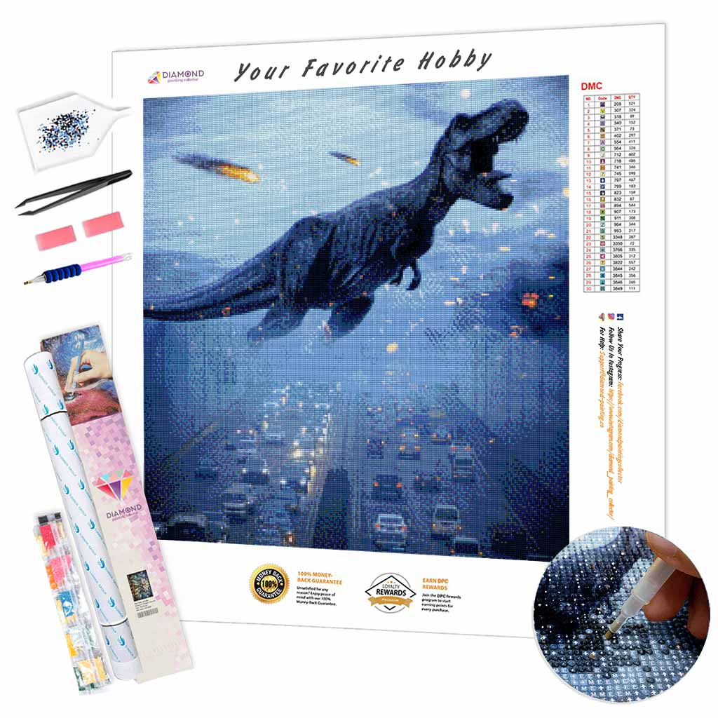 Dinosaur on the Road DIY Diamond Painting Kit