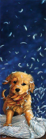 Load image into Gallery viewer, Dog Playing with a Pillow DIY Diamond Painting Kit
