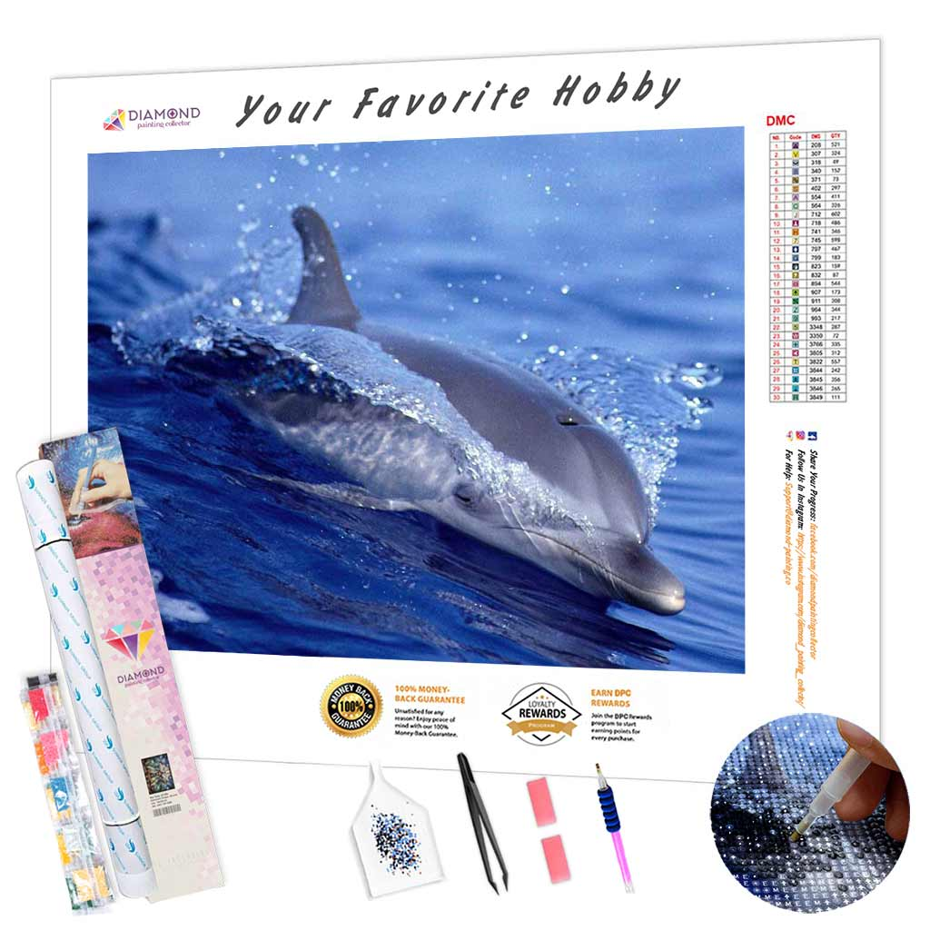 Dolphin Cuts a Wave DIY Diamond Painting Kit