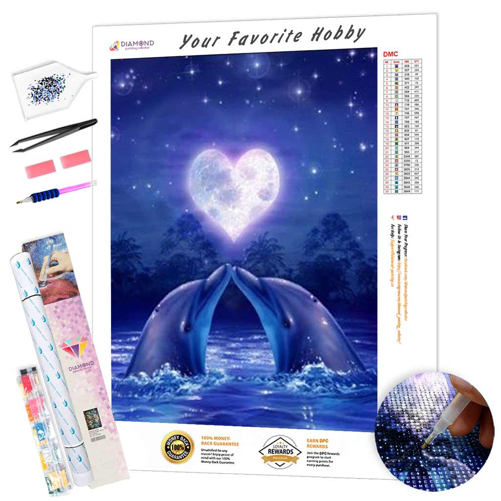 Dolphins in Love DIY Diamond Painting Kit