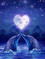 Load image into Gallery viewer, Dolphins in Love DIY Diamond Painting Kit