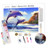 Load image into Gallery viewer, Dolphins on the Wave DIY Diamond Painting Kit