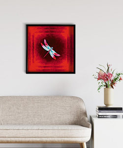 Dragonfly on Red DIY Diamond Painting Kit