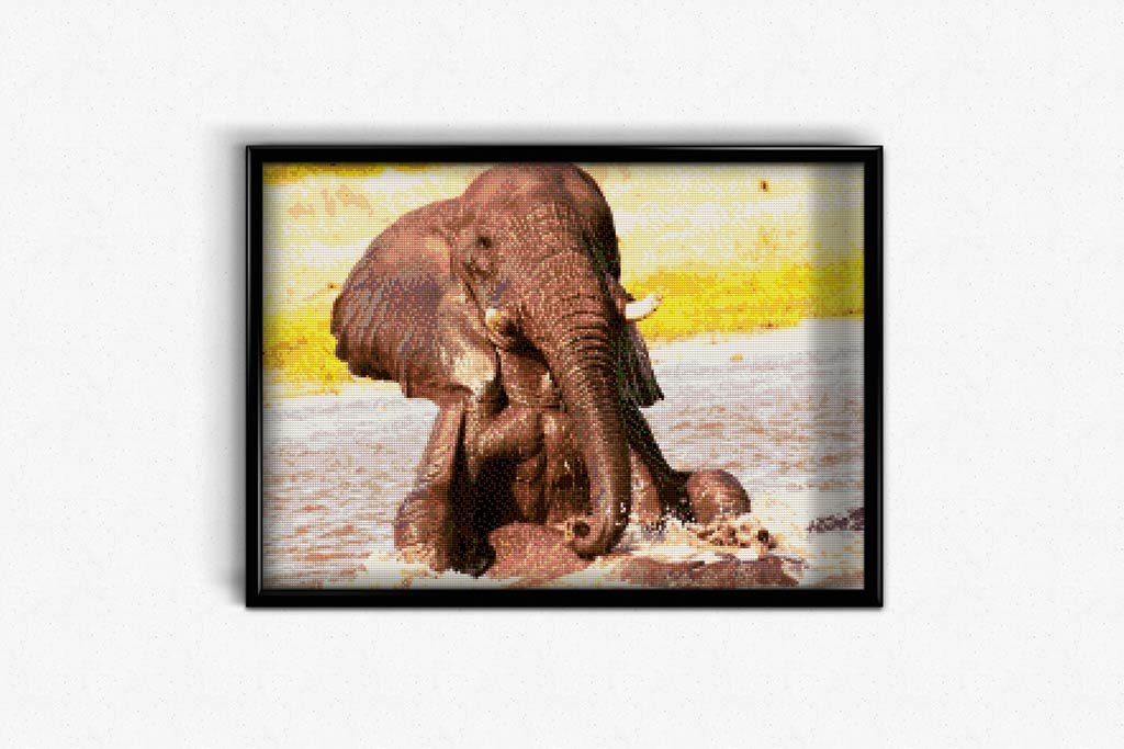 Elephant at Watering Hole DIY Diamond Painting Kit