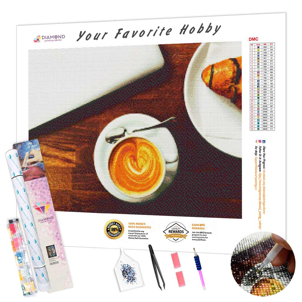 Espresso with Croissant DIY Diamond Painting Kit