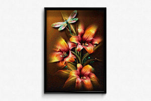 Flowers & Dragonfly DIY Diamond Painting Kit