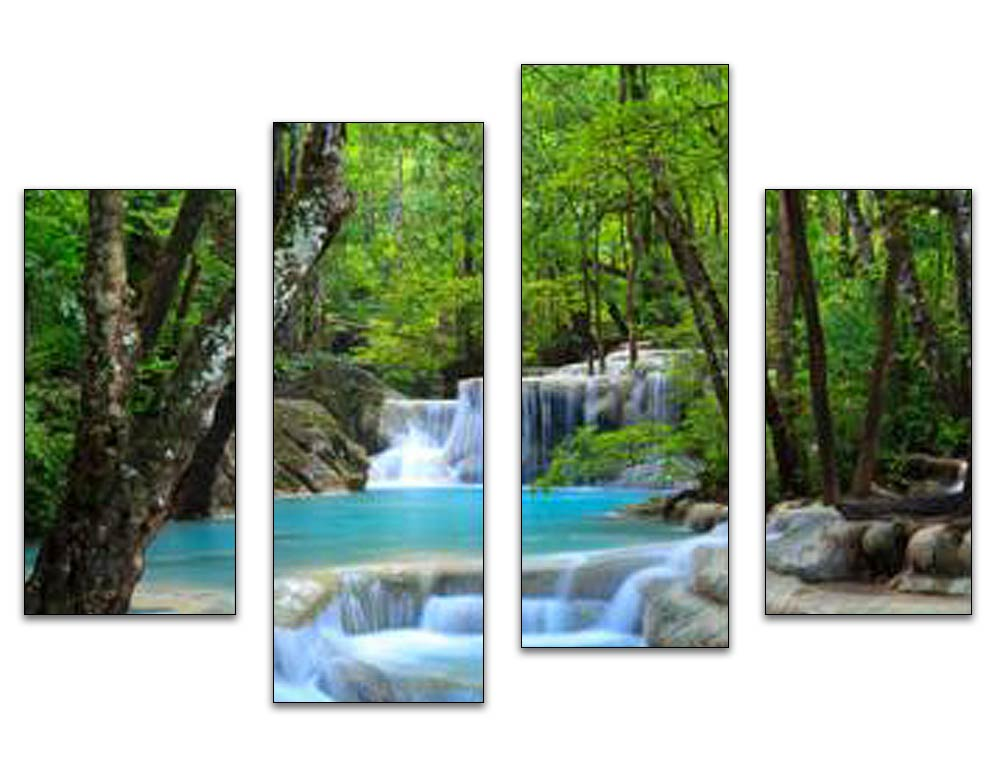 Forest Waterfall on the River 4pcs/set DIY Diamond Painting Kit