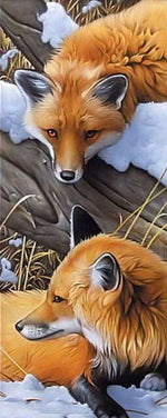 Load image into Gallery viewer, Foxes in the Winter Forest DIY Diamond Painting Kit