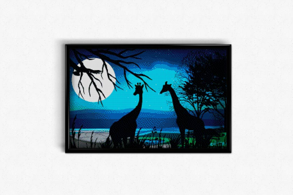 Giraffes on a Starry Night DIY Diamond Painting Kit