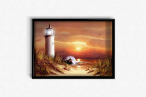 Golden Sunset at the Lighthouse DIY Diamond Painting Kit