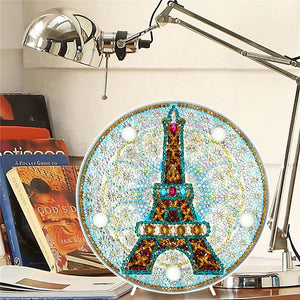 LED Round Lamp Light Paris Tower DIY Diamond Painting