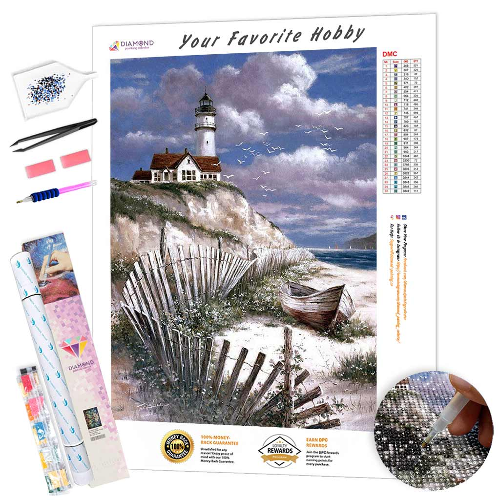 Lighthouse on the Rock DIY Diamond Painting Kit