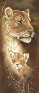 Load image into Gallery viewer, Lion Cub Sleeping with Mom DIY Diamond Painting Kit