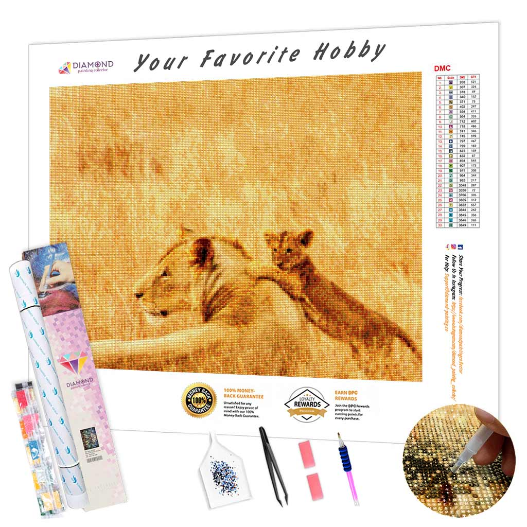 Lion Cub with Mom DIY Diamond Painting Kit