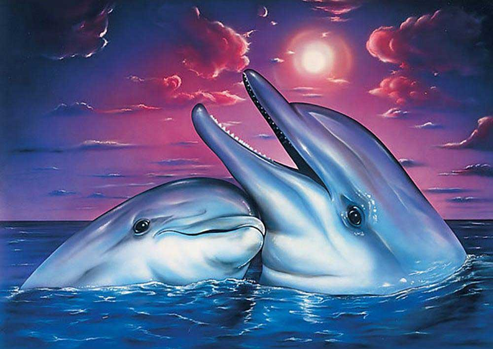 Mom Dolphin and Baby DIY Diamond Painting Kit