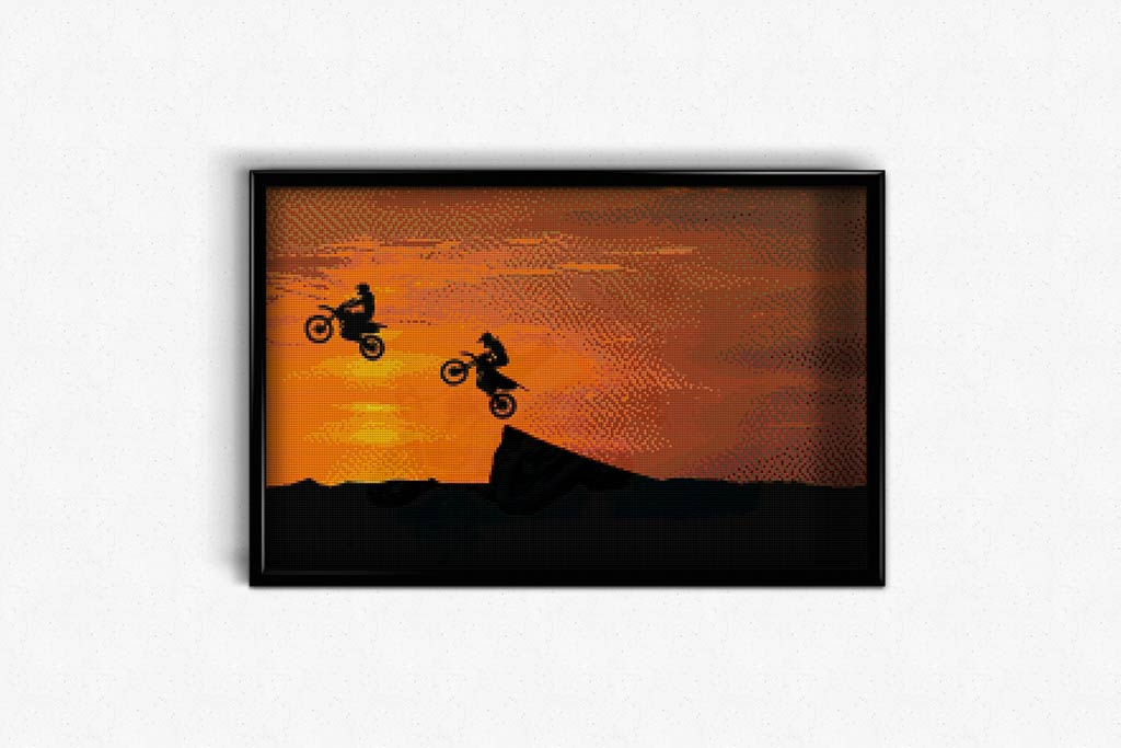 Motorcyclists at Sunset DIY Diamond Painting Kit