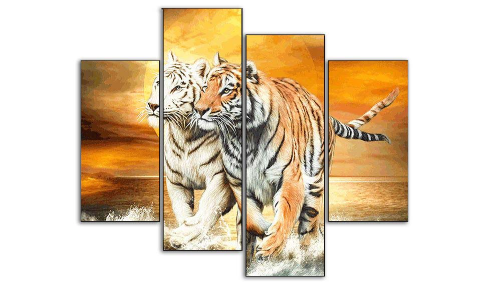 Multi-picture combination Two Tigers 4pcs/set DIY Diamond Painting Kit