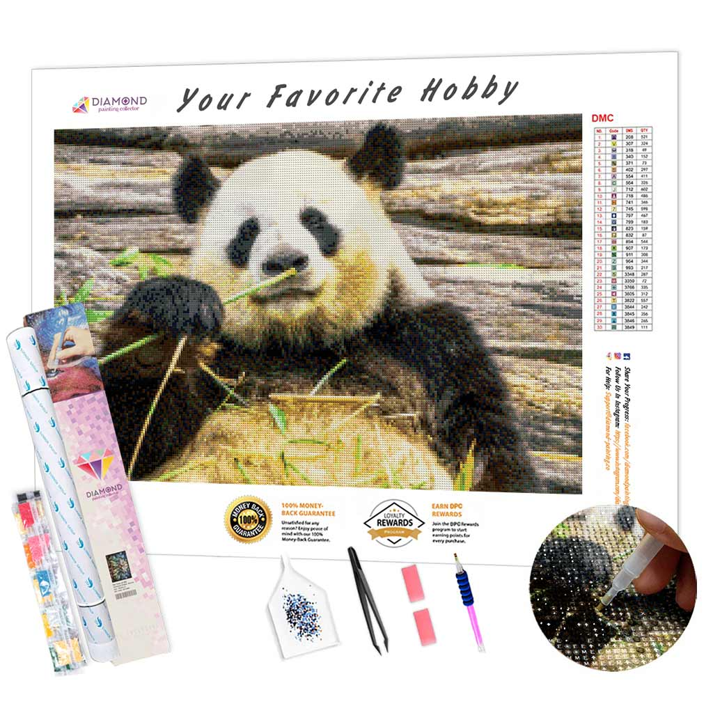 Panda Eats Bamboo DIY Diamond Painting Kit
