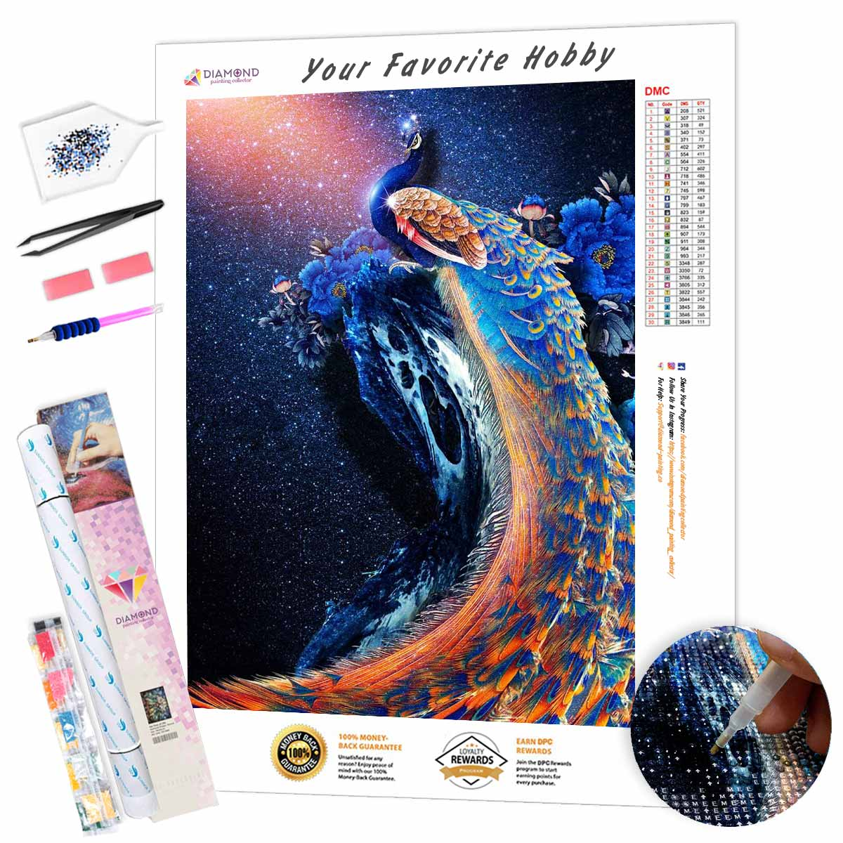 Peacock on the background of the starry sky DIY Diamond Painting Kit