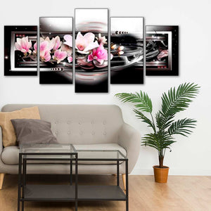 Pink Flowers in the Dark 5pcs/set DIY Diamond Painting Kit