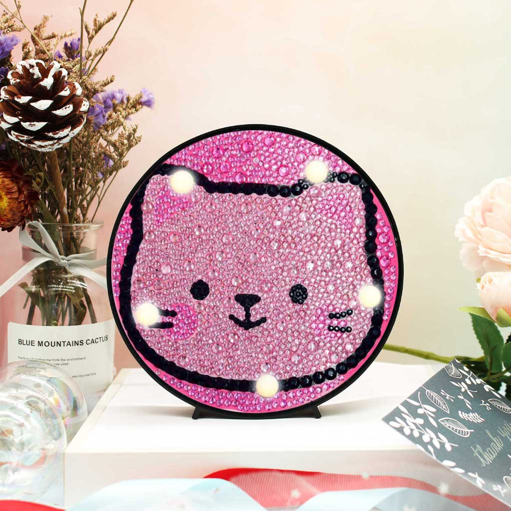 Pink Kitten Round LED Lamp DIY Diamond Painting