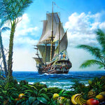 Load image into Gallery viewer, Pirate Sailboat DIY Diamond Painting Kit