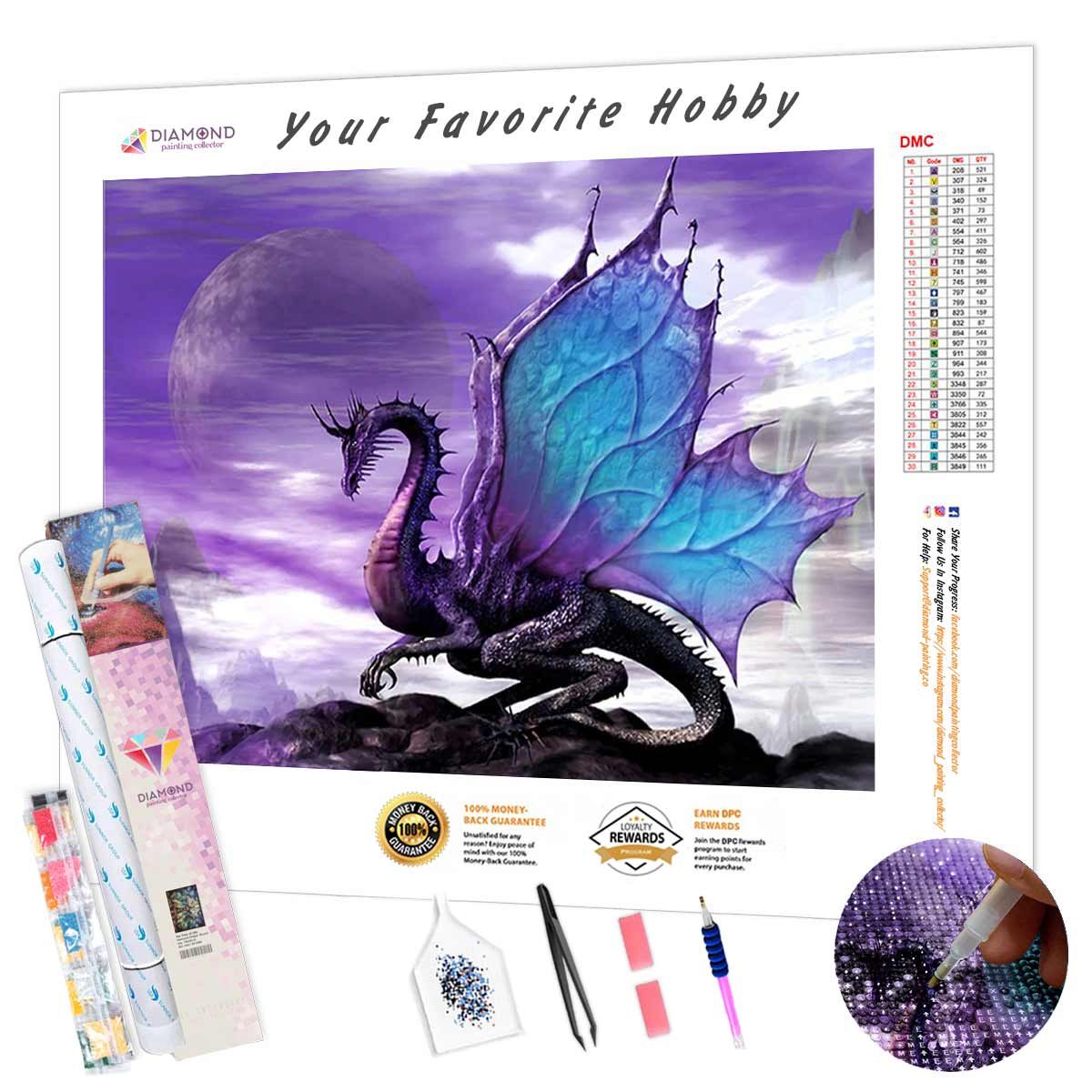 Purple Dragon DIY Diamond Painting Kit