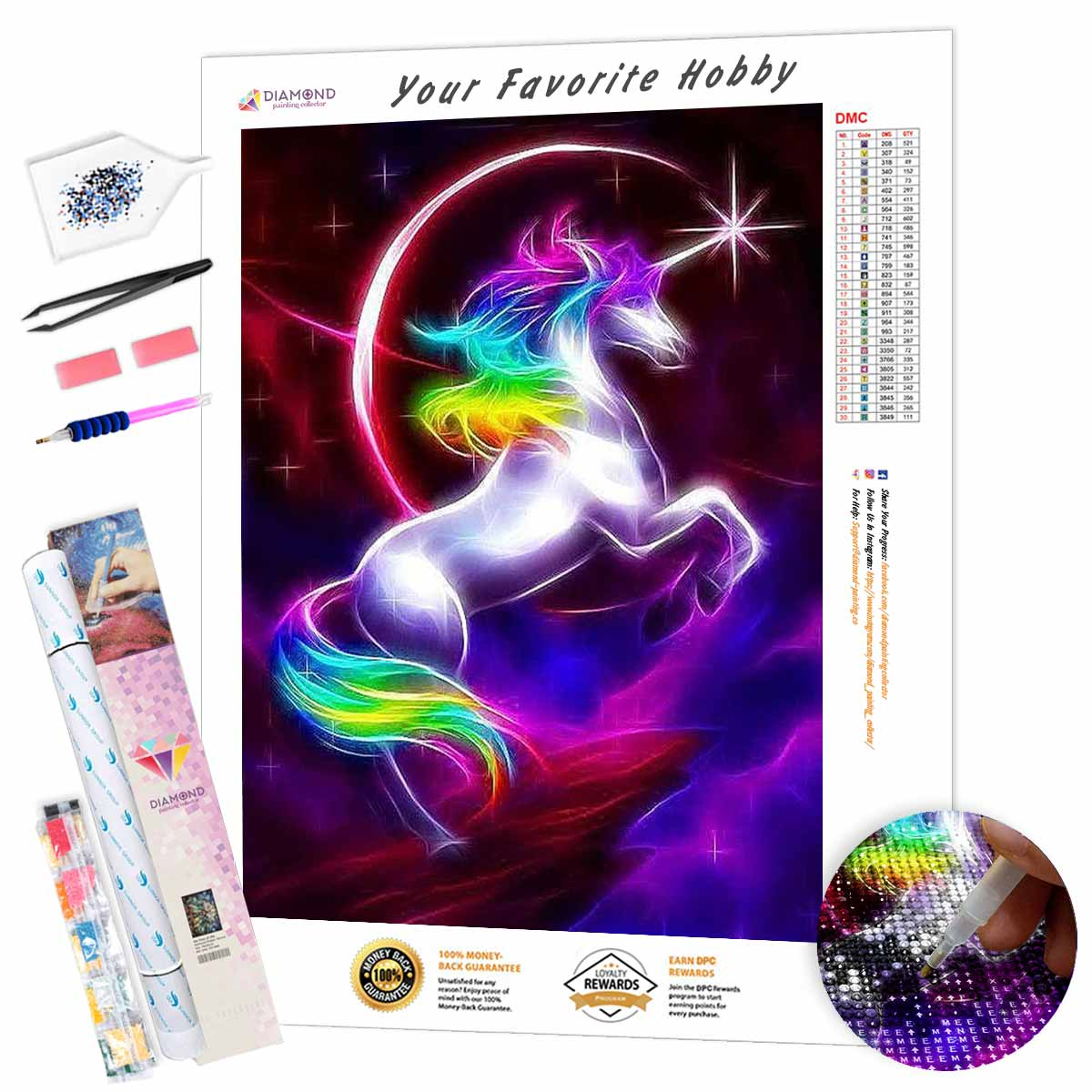 Rainbow Unicorn in the Sky DIY Diamond Painting Kit