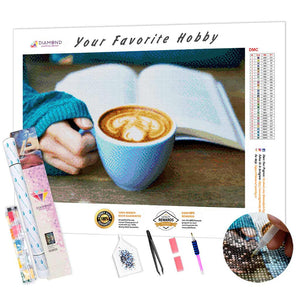 Reading with Coffee DIY Diamond Painting Kit