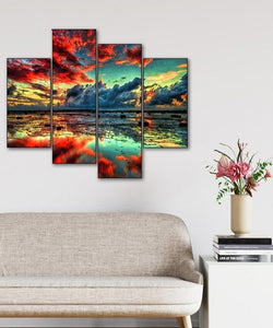Red Clouds on the Water 4pcs/set DIY Diamond Painting Kit
