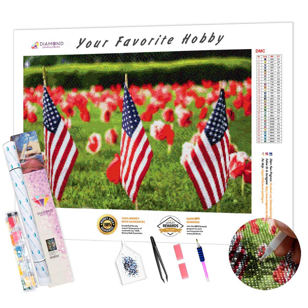 Remembrance Day Flags DIY Diamond Painting Kit