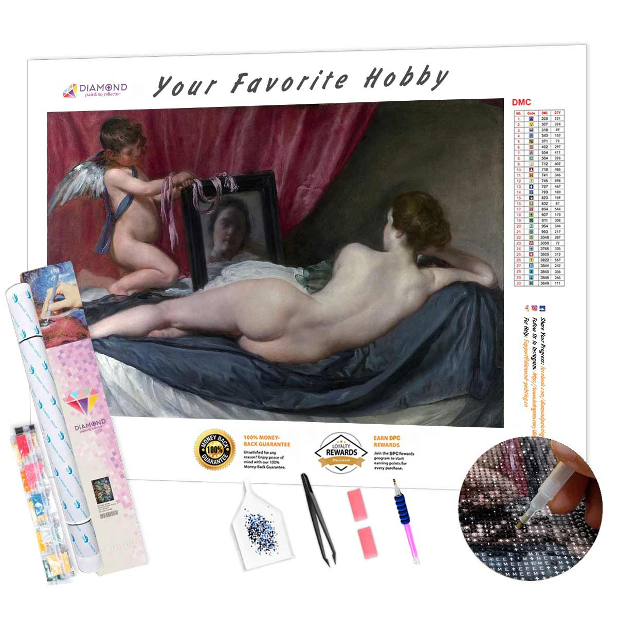 Rokeby Venus by Diego Velazquez DIY Diamond Painting Kit