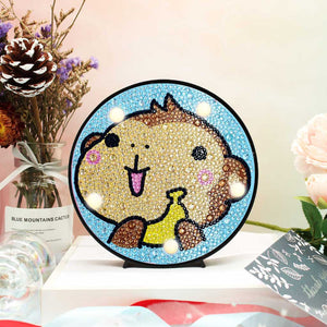 Round LED Lamp Monkey with Banana DIY Diamond Painting