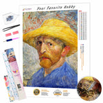 Load image into Gallery viewer, Self Portrait with Straw Hat by Vincent van Gogh DIY Diamond Painting Kit