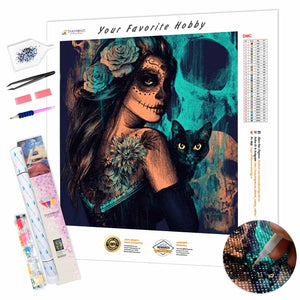 Skull Girl with a Cat DIY Diamond Painting Kit