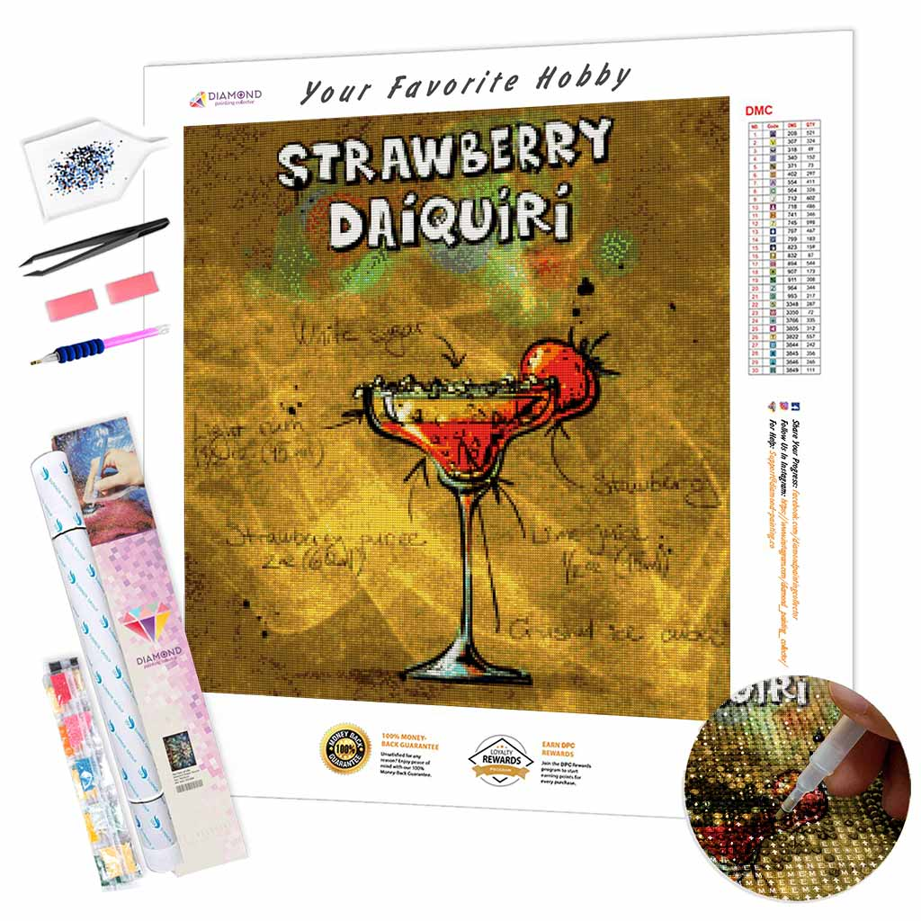 Strawberry Daiquiri Cocktail DIY Diamond Painting Kit