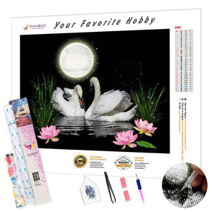 Swans Under the Moon DIY Diamond Painting Kit