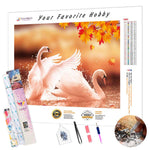 Load image into Gallery viewer, Swans under the Yellow Foliage DIY Diamond Painting Kit