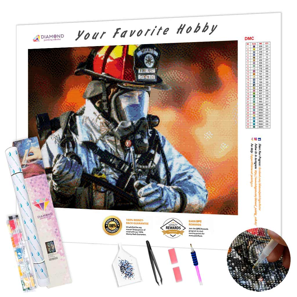 Tired Firefighter DIY Diamond Painting Kit